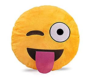 Emoji Smiley Emotion Yellow Round Cushion Pillow, Wink