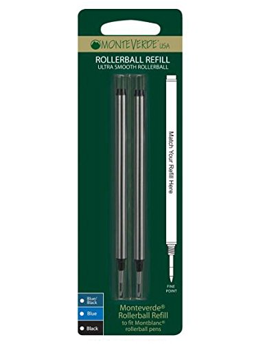 Free Monteverde Rollerball Refill to Fit Montblanc Rollerball Pens, Fine Point, Black, 2 per Pack