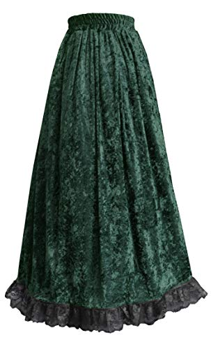 Steampunk Gothic Theater Renaissance Victorian Long Lace Trimmed Skirt Forest ()