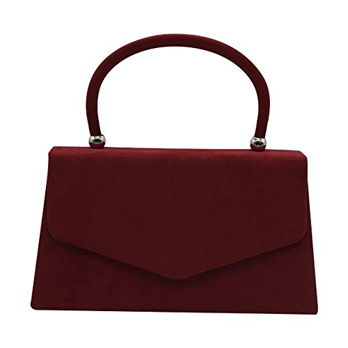 Cckuu Prom Velvet Coral Burgundy Clutch Evening Suede Shoulder Handbag Envelope Bag Bag Women's rwCqrxP8T