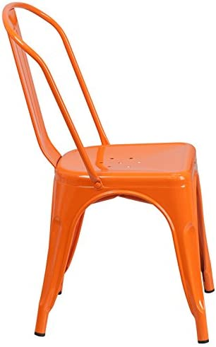 Emma Oliver Orange Metal Indoor-Outdoor Stackable Chair