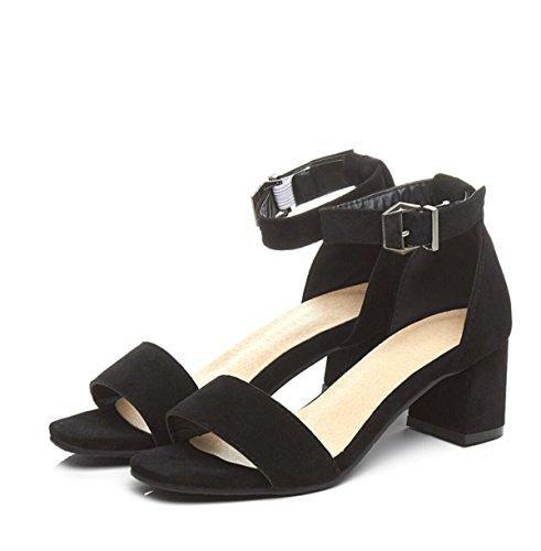 Zapatos Abiertos Zapatos De La Hebilla Talón Grueso Black
