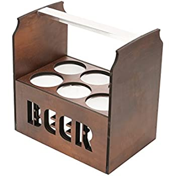 Wooden Beer Caddy / Holder / Tote / Basket / Carrier / Crate / Six Pack (6 compartments, Beer Cans- Dark Wood)