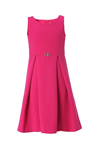 Emma Kids Dress (Emma Riley Sleeveless Pleated A-line Textured Knit Party Dress Wedding Birthday 14 Rose Red)