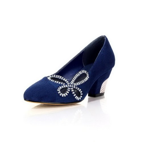 VogueZone009 Womans Closed Round Toe High Heel Frosted Solid Pumps with Rhinestones, Blue, 3 UK