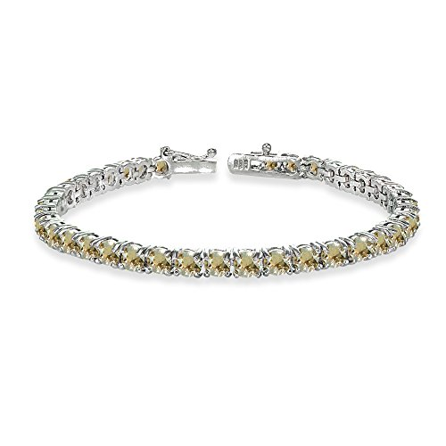 Sterling Silver Golden Shadow 4mm Round-cut Classic Bracelet Made with Swarovski Crystals Golden Shadow Crystal Bracelet