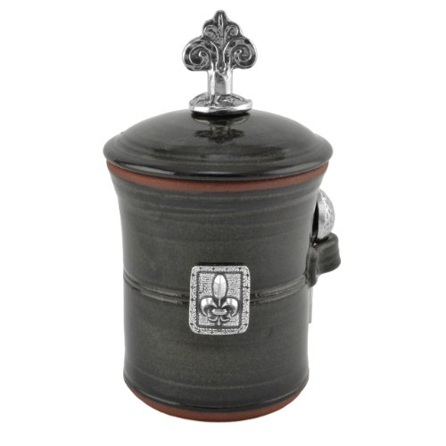 French Salt Glaze - Oregon Stoneware Studio Fleur de Lys Salt Pot with Pewter Finial, Blackberry