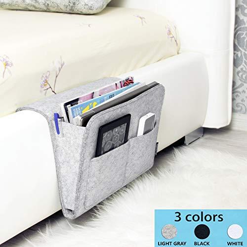 Bedside Caddy | New Design Large Size 9.4 x 13.4 inch (Light Gray) | Dorm College Room, Bunk Bed, Office Desk, Hospital Bed, Kids Baby Bed | Hanging Storage Organizer | Magazine Rack | Remote Holder