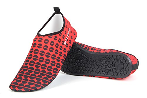 HYSENM Men Women Round Dots Barefoot Water Shoes For Swim Snorkeling Beach Running Surf Yoga red B5zsN5