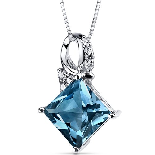 London Blue Topaz Diamond Pendant 14Kt White Gold Princess Cut 4 Carats ()