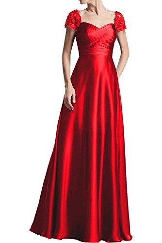 Abendkleider Marie Partykleider Spitze Rot Kurzarm Brautmutterkleider Burgundy La Satin Braut Oq8ZYYx