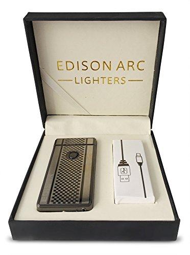 Edison Dual Arc Beam USB Lighter | USB Rechargeable Flameless Windproof Plasma Beam Dual Pulse Arc Minimalist Cigarette USB Lighter (Hookah Cigarette Rechargeable)