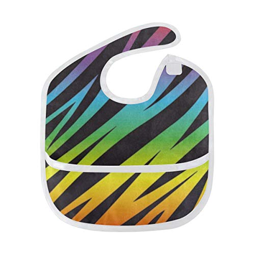 (Baby Bibs Rainbow Color Stripe Zebra Print Large Teething Bibs for Girls Drooling Bib/Smock)
