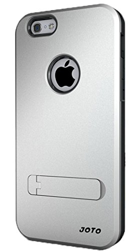 """JOTO iPhone 6S 4.7 Armor Case - iPhone 6 4.7"""" Hybrid Dual Layer Armor Cover Case with Kickstand (Flexible TPU + Hard PC), Exclusive for Apple iPhone 6S / 6 4.7 inch (Silver, Black)"""