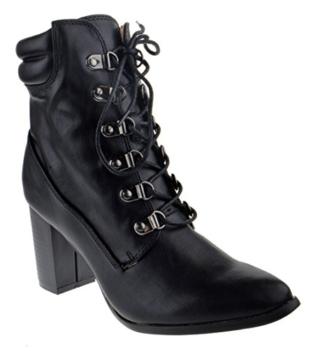 Chase + Chloe Ava 1 Womens Lace up Chunky Heel Pointed Toe Boots Black PU -