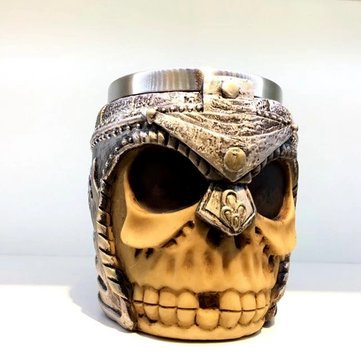 Super Bowl Tankard - 400ml Skull Bones Fiendish 3D Tankard Mug Metal Drinking Cup Coffee Beer Pirate Gothic Cup - Drinkware & Tea Sets Water Bottles & Cups - 1 x 400ml Skull Bones Fiendish 3D Tankard Mug