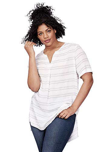 Ellos Women's Plus Size Crinkle Tunic - White Black Stripe, 28