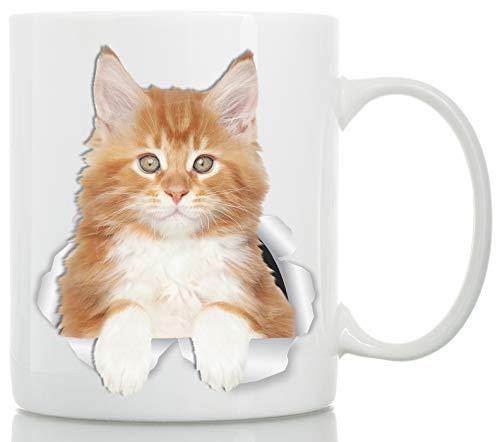 Cute Maine Coon Kitty Cat Mug - Red Maine Coon Ceramic Coffee Mug - Perfect Maine Coon Kitty Cat Gifts - Funny Maine Coon Cat Coffee Mug for Cat Lovers (11oz)