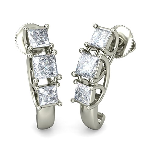 18 K Or Blanc 0,69 ct tw Round-cut-diamond (IJ | SI) Boucles d'oreilles créoles