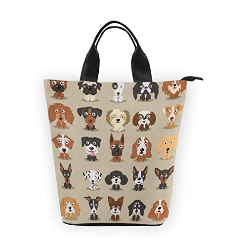 InterestPrint Nylon Cylinder Lunch Bag Cute Dogs Different Breeds of Dogs Reusable Tote Lunchbox