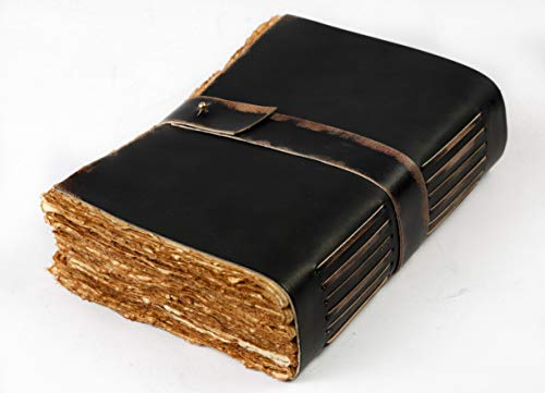 Leather Village-Vintage Leather Journal Writing Notebook-Leather Bound journals to write in present for women men. journaling sketching painting Fountain calligraphy pen. 7X5 inches, 288 deckle pages (Leather Small Journal)