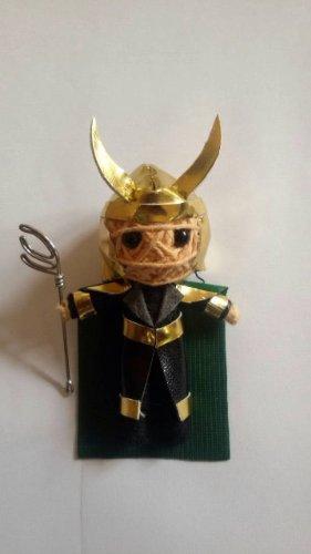 Loki Super-Villain String Doll Keychain Charm Ornament 2014 with helmet and scepter