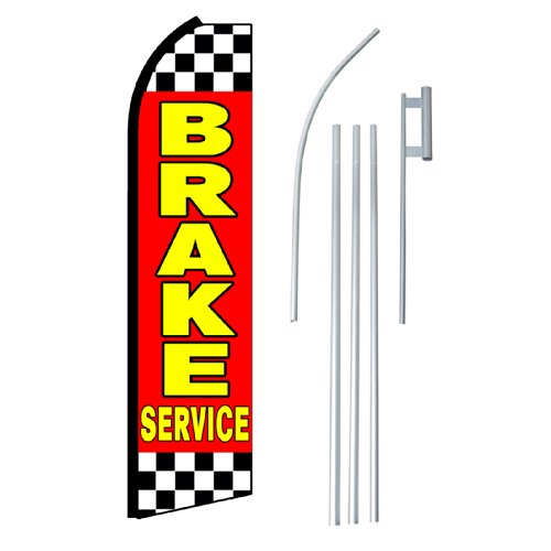 "NEOPlex - ""Brake Service"" Complete Flag Kit - Includes 12' Swooper Feather Business Flag With 15-foot Anodized Aluminum Flagpole AND Ground Spike"