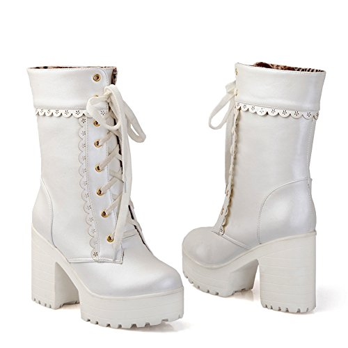 DoraTasia Women's Sweet Lace Platform High Heel Shoes Casual Mid Calf Boots White gsQqO
