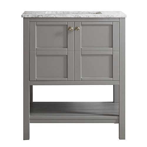"Vinnova 713030-GR-CA-NM Florence 30"" Single Vanity in Grey with Carrera White Marble Top without Mirror"