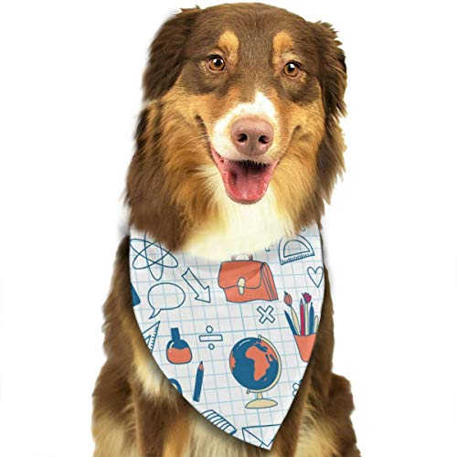 TNIJWMG School Doodles Seamless Icons Bandana Triangle Bibs Scarfs Accessories for Pet Cats and Puppies