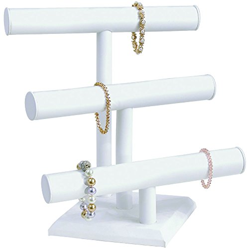 Mooca White Leatherette Triple Jewelry Display Stand Holder for Necklaces, Bracelets