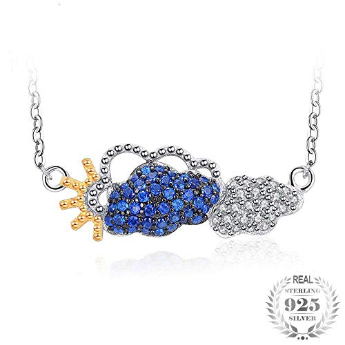 GSYDSZ Sunny Day Clear Sky White Cloud Created Blue Spinel Collar Necklace 925 Sterling Silver for Women