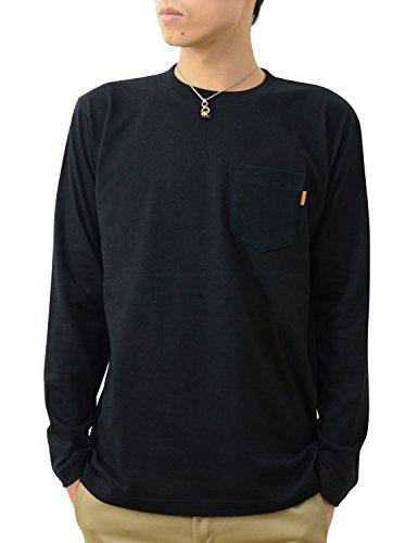 指標意義極端な(ジーンズバグ) JEANSBUG 長袖 革タブ付 ポケT オリジナル 本革 タブ アクセント 無地 ポケット Tシャツ ロンT メンズ レディース 大きいサイズ PKLT-L1