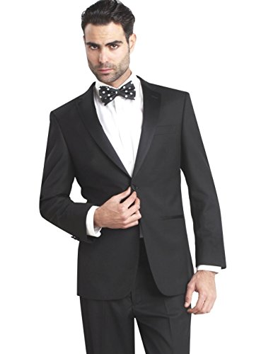 Giorgio Fiorelli Mens 2 Button Tuxedo Suit Modern Fit Black Black 56L