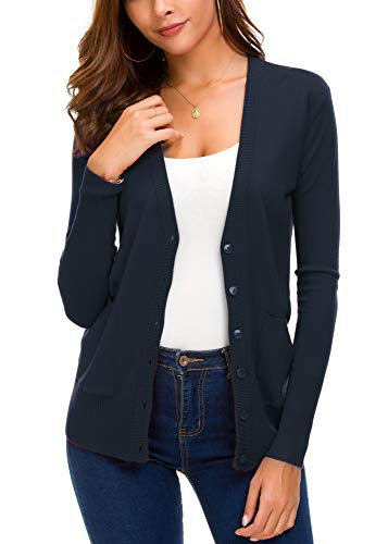 (Women's Basic Cardigan Long Sleeve Button Down Thin Coat Autumn Fashion Sweater (L, Navy) )