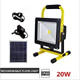 Portable Work Light 20W, Rechargeable Led Flood Light with 18650 Lithium Batteries,Indoor/Outdoor IP65 Waterproof, Rechargeable Led Spotlight,Adapter and Car Charger Included