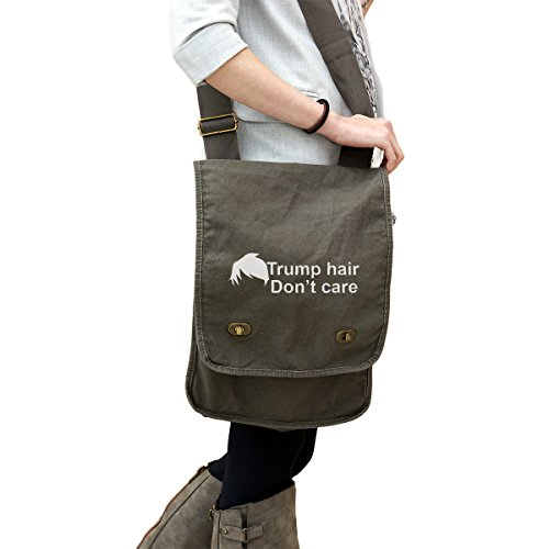 Funny Political Trump Hair Dont Care 14 Oz  Authentic Pigment Dyed Canvas Field Bag Tote