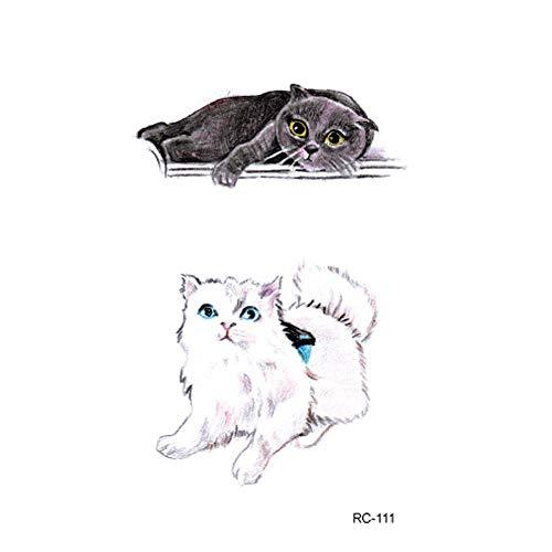 Women Temporary Tattoos Cute Animals Cat Dog Symbols Temporary Tattoo for Girl Women Arm Shoulder Fashion Body Art Adults Environmental Waterproof Hand Fake Tatoo 105X60mm (E) -