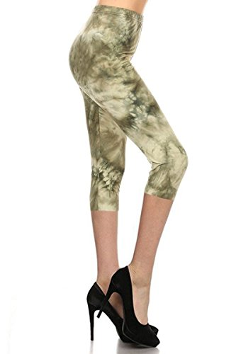 R983-CA-PLUS Sage Tie Dye Capri Print Leggings, Plus Size