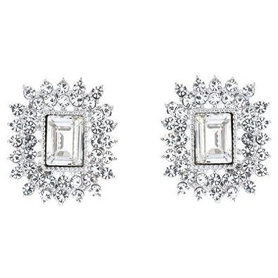 7c47641f2 Silver and Clear Swarovski Crystal Rectangular Stud Earrings: Amazon.co.uk:  Jewellery
