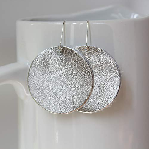 Silver Genuine Leather Circle Earrings // Sunny Collection