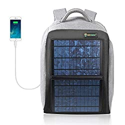 SUNKINGDOM Solar Backpack - Waterproof Anti-Theft Solar Power Fast Charging Camping & Hiking Daypack with 12W Solar Panel Charger for Smart Cell Phones and Tablets, GPS, Powerbank, Bluetooth Speakers