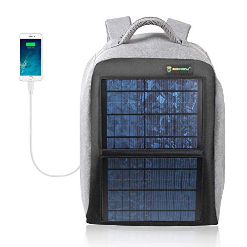 SUNKINGDOM Solar Power Backpack Waterproof Anti-Theft Fast Charging Camping & Hiking Daypack with Highest Solar Panel Charger for Smart Cell Phones and Tablets, GPS, Powerbank, Bluetooth -