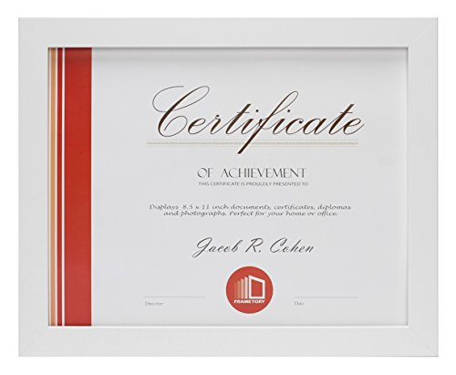 Frametory, Document / Diploma Table-Top Frame for 8.5x11 Picture & Real Glass (White) by Frametory
