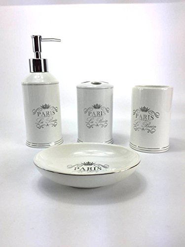 WPM 4 Piece Bathroom Accessory Set. White Classic French Provincial Bath Gift Set includes liquid soap/lotion dispenser, toothbrush holder, tumbler, and soap dish. - Gorgeous 4-Piece French Paris Print Ceramic Bath Set Our Stylish French Paris Print Decor Sets Include All Essential Bathroom Accessories Soap Dispenser, Soap Dish, Toothbrush Holder, Tumbler - bathroom-accessory-sets, bathroom-accessories, bathroom - 413ULRGTl3L -
