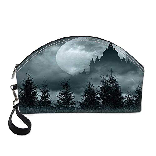 (Halloween Small Portable Cosmetic Bag,Magic Castle Silhouette over Full Moon Night Fantasy Landscape Scary Forest For Women,One)