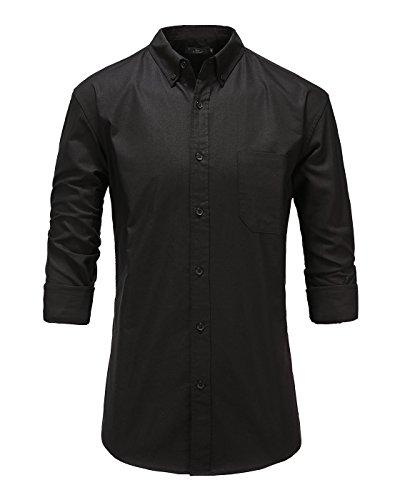 Emiqude Men's 100% Oxford Cotton Slim Fit Long Sleeve Button Down Solid Dress Shirt Medium Black