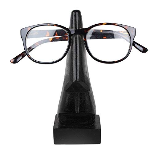storeindya, Handcrafted Wooden Eyeglass Spectacle Holder Organizer Spectacle Stand / Desktop Eyeglass Holder Stand / Eyeglass Holders for Desk (Deep Black Collection)