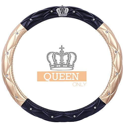Queen's Car Steering Wheel Cover with Noble Crown + Bling Diamond + Lattice Design + Soft Leather Auto Stylish Elegant Accessories Universal 15″/38cm (Queen ONLY) (A – Gold & Black)