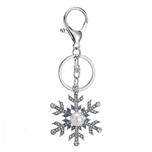 Lovely Crystal Snowflakes Shaped Design Keychain Key Chain Sparkling Key Ring Charm Purse Pendant Handbag Bag Decoration Holiday Gift For Women Girls (Snowflake Design Key Ring)